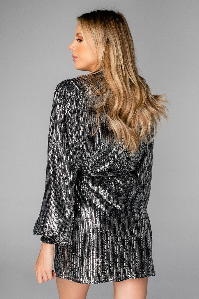 BuddyLove Adeline Sequin Wrap Dress - Black