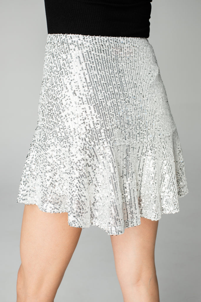 BuddyLove Reba Sequin Mini Skirt - Silver
