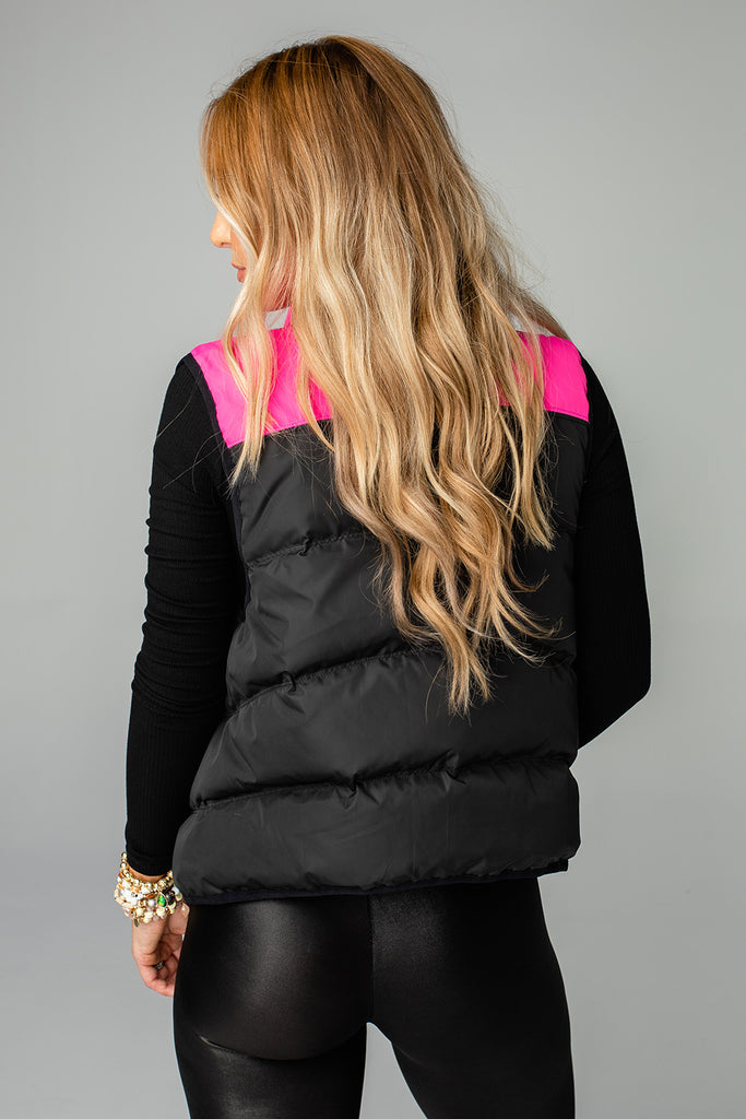 BuddyLove Tanya Two Tone Puffer Vest - Black/Pink