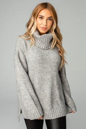 BuddyLove Karen Turtleneck Tunic Sweater - Heather