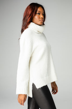 BuddyLove Karen Turtleneck Tunic Sweater - White