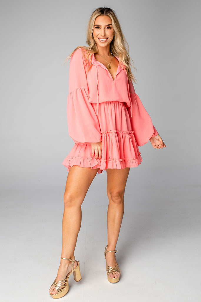 BuddyLove Zozo Elastic Waist Mini Dress - Coral