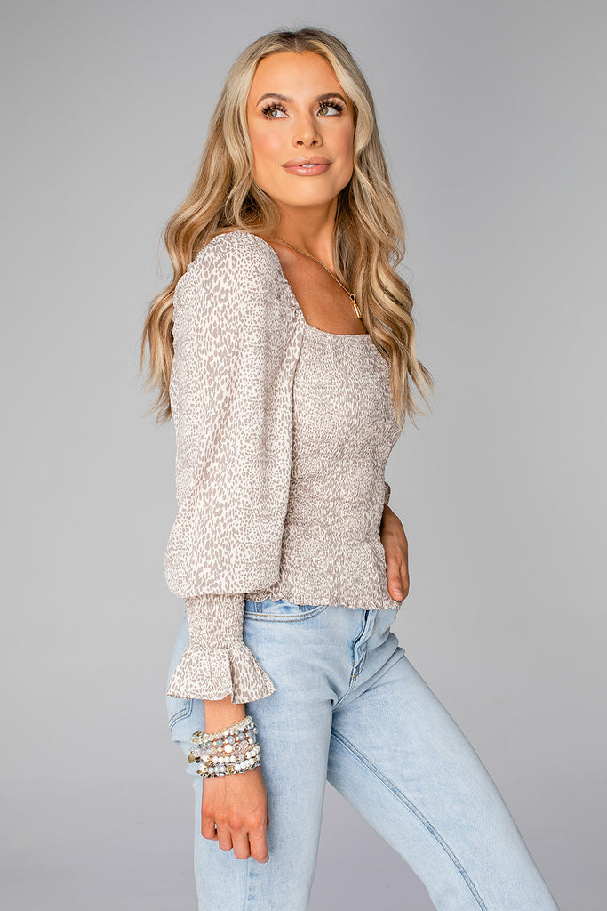 BuddyLove Cassie Smocked Long Sleeve Top - Foxtrot