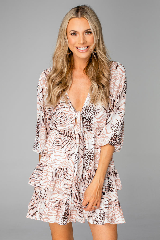 BuddyLove Sadie Tie Front Ruffled Dress - Wildlife