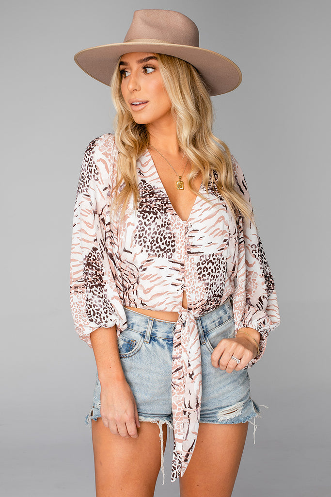 BuddyLove Estelle Tie Front Top - Wildlife