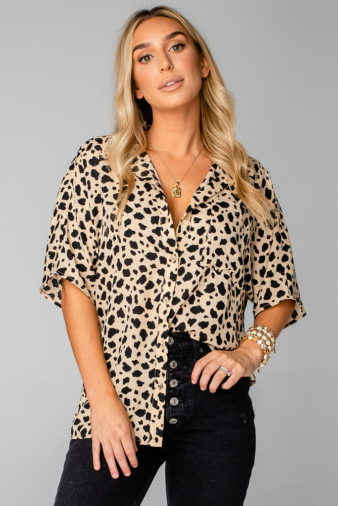 BuddyLove Perry Oversized Button Up Top - Speckled