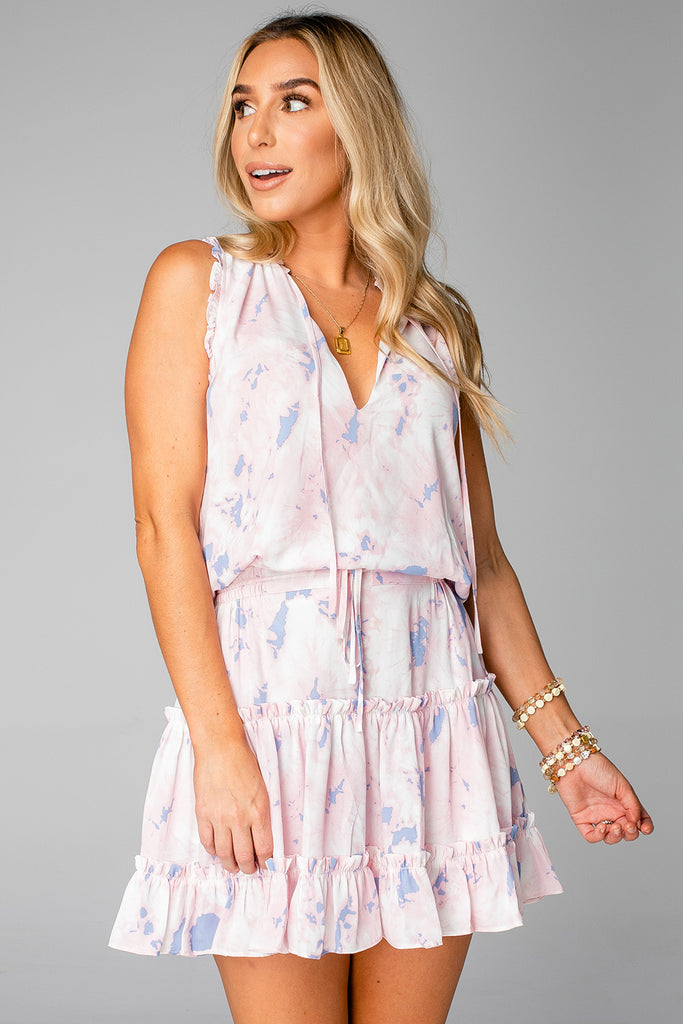 BuddyLove Sage Tie Waist Mini Dress - Wisteria