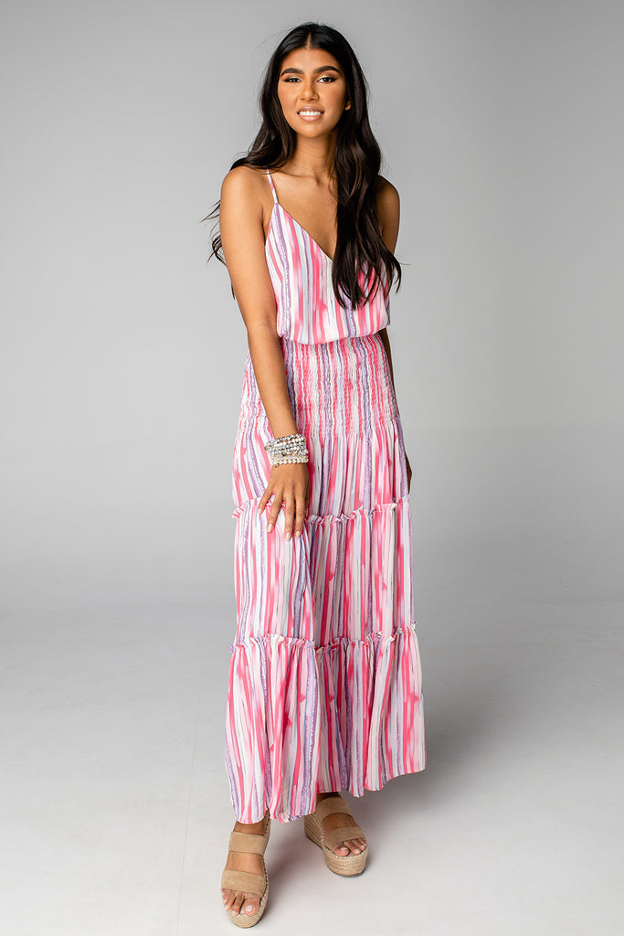 BuddyLove Izzy Smocked Waist Maxi Dress - Strawberries & Cream