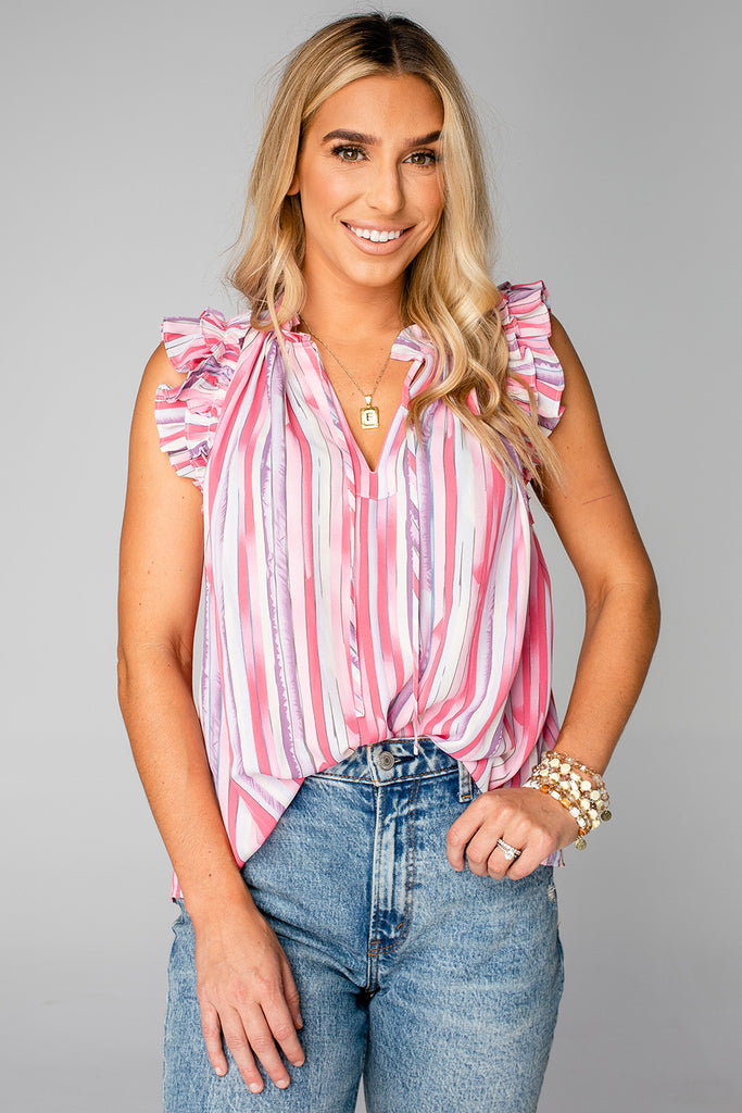 BuddyLove Victoria Ruffle Detail Top - Strawberries & Cream