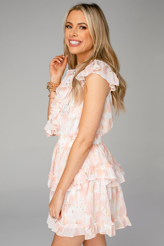 BuddyLove Astrid Ruffle Front Mini Dress - Honeysuckle