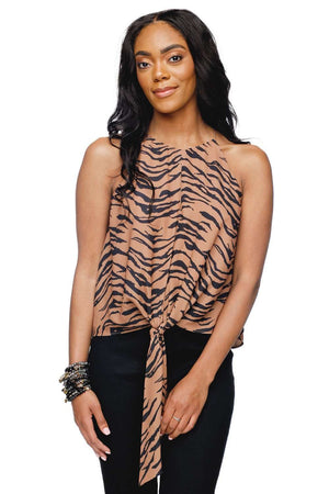 BuddyLove Candice Front Tie Tank Top - Tiger - Buddy Love Clothing Label