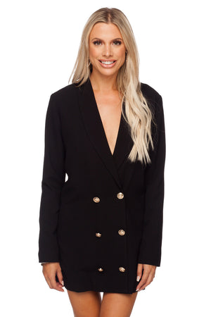 BuddyLove Carey Long Sleeved Blazer Short Dress - Black