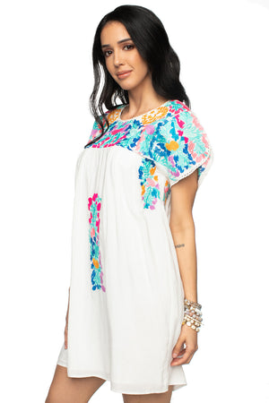 BuddyLove Carolina Embroidered White Pastel Dress