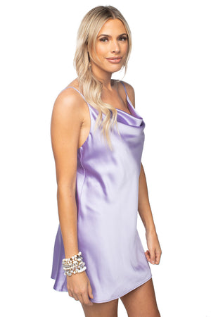 Silk Mini Slip Dress Lavender Purple