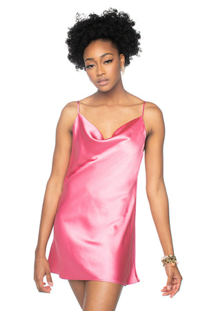 Silk Mini Slip Dress Rose Pink