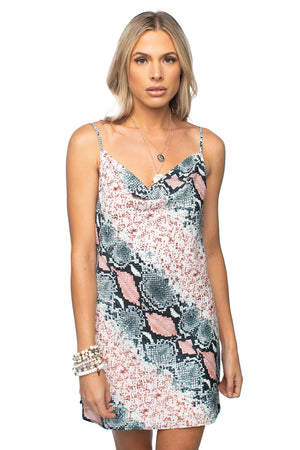 Mini Slip Dress Snake Print