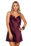 BuddyLove Celine Silk Mini Slip Dress - Wine
