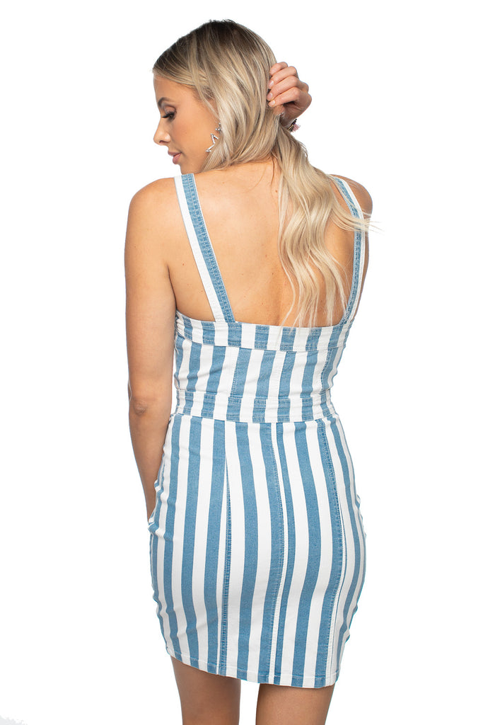 BuddyLove Charlize Denim Dress - Blue Stripe