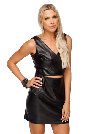 BuddyLove Christina Fitted Cut Out Vegan Leather Mini Dress - Black