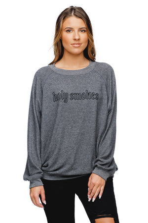 BuddyLove Cody Graphic Loose Fit Sweater Grey - Holy Smokes