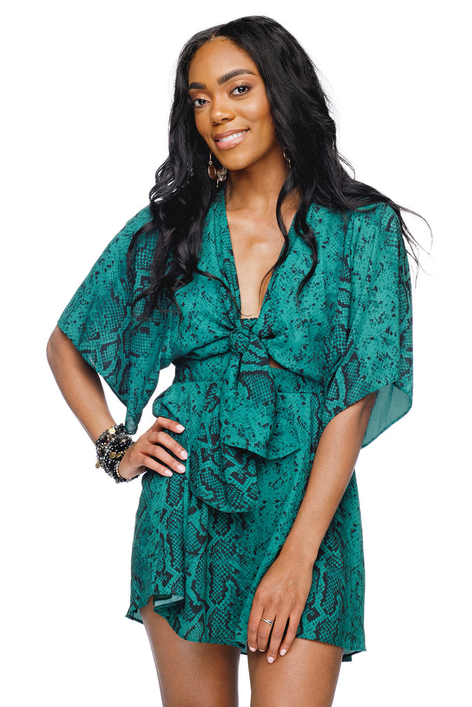 BuddyLove Connie Front Tie Elastic Waist Mini Dress - Forest - FINAL SALE,XS / Green