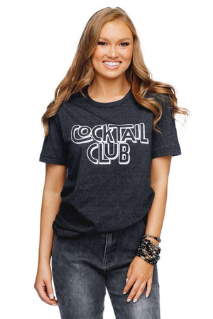 BuddyLove Crosby Heathered Black Cotton Graphic Tee - Cocktail Club - Buddy Love Clothing Label