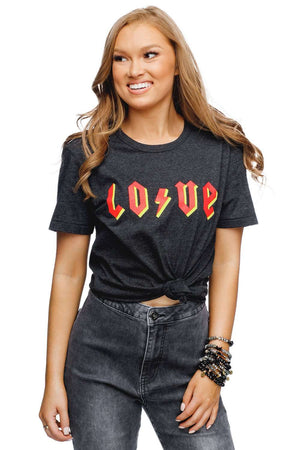BuddyLove Crosby Heathered Black Cotton Graphic Tee - LOVE - Buddy Love Clothing Label