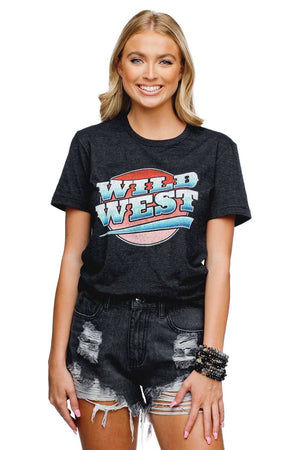 BuddyLove Crosby Heathered Black Cotton Graphic Tee - Wild West - Buddy Love Clothing Label