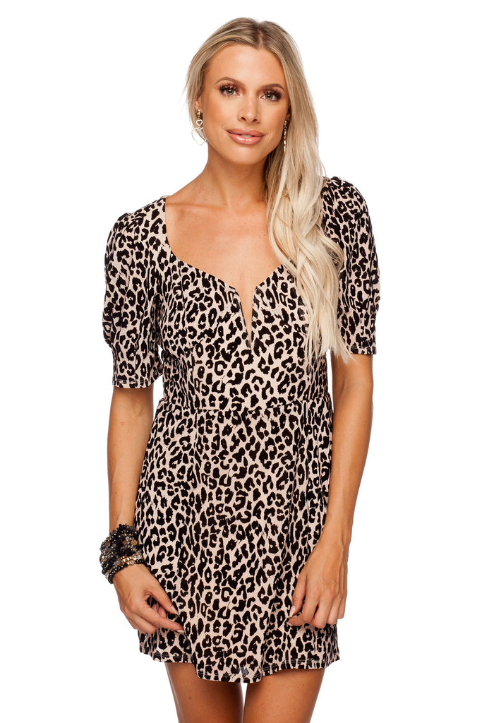 BuddyLove Dakota Fitted Burnout Velvet Mini Dress - Tan,XS / Brown / Feline