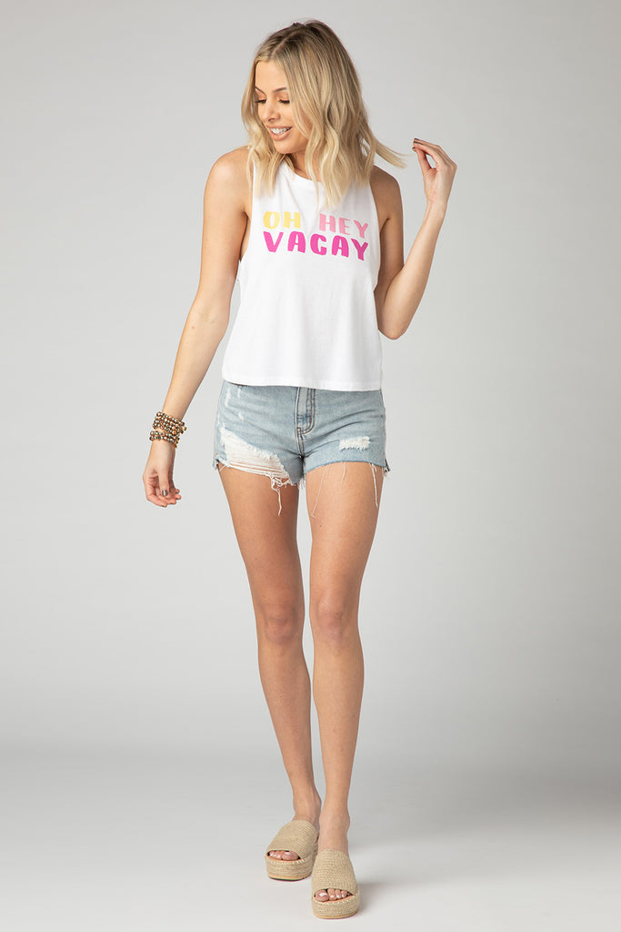 BuddyLove Dale Graphic Racerback Tank Top - Oh Hey Vacay