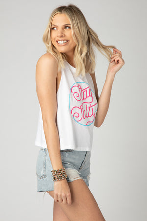 BuddyLove Dale Graphic Racerback Tank Top - Stay Salty