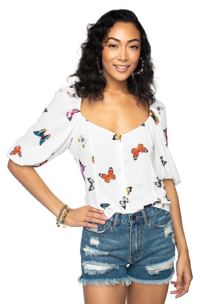 BuddyLove Demi Sweetheart Top - Butterfly,XS / White / Butterfly