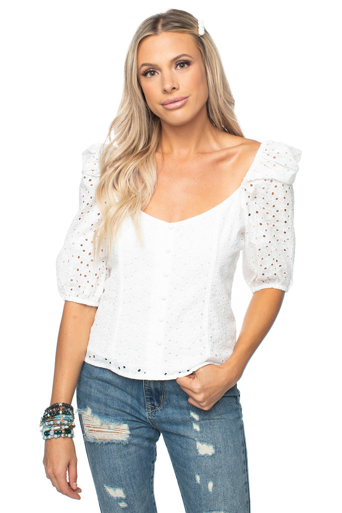 BuddyLove Demi Sweetheart Top - Eyelet,XS / White / Solids