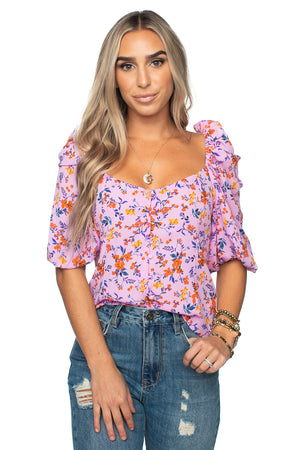 Demi Puff Sleeve Top Pink