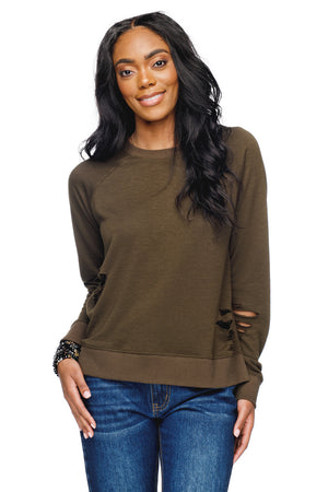 BuddyLove Denise Distressed Long Sleeve Lounge Sweater - Army - Buddy Love Clothing Label