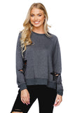 BuddyLove Denise Distressed Long Sleeve Lounge Sweater - Charcoal