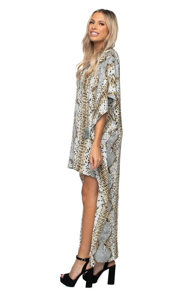 High Low V Neck Dress Print