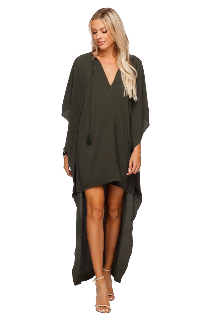 BuddyLove Derby High-Low V-Neck Maxi Dress - Olive