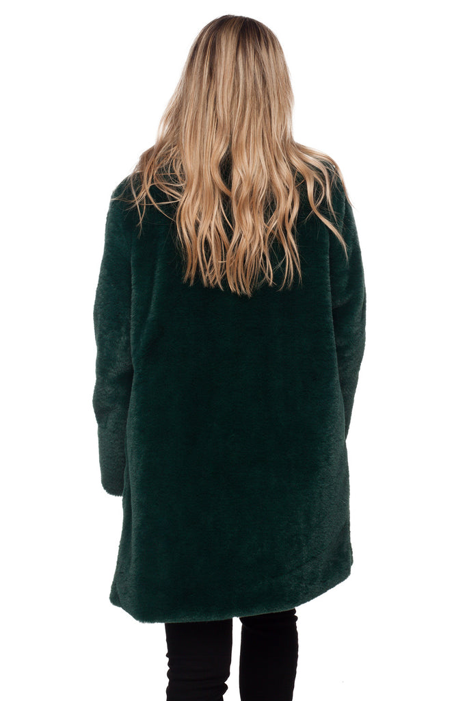 BuddyLove Diana Faux Fur Mid Thigh Length Coat - Emerald