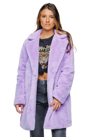 BuddyLove Diana Faux Fur Mid Thigh Length Coat - Lilac Purple