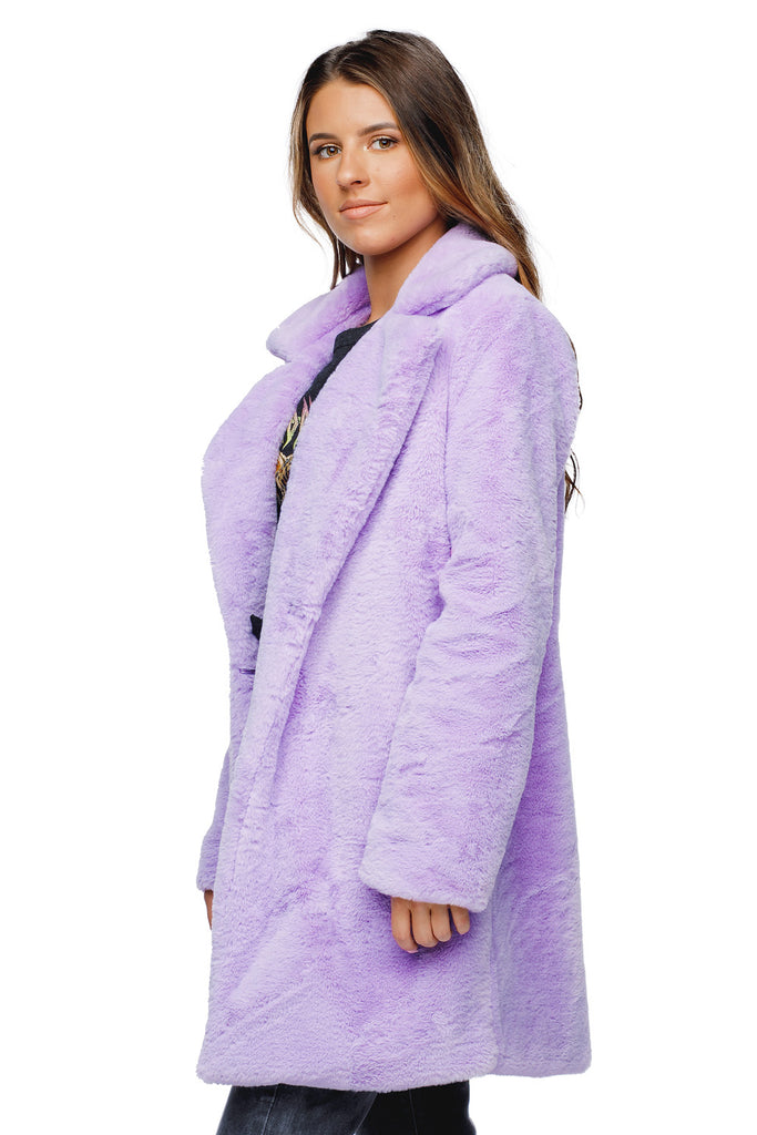 BuddyLove Diana Faux Fur Mid Thigh Length Coat - Lilac