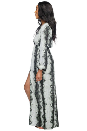 BuddyLove Dolly Elastic Waist Long Sleeved Maxi Dress - Nile