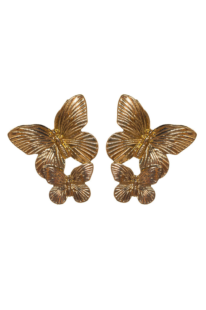BuddyLove Double Butterfly Stud Earring - Gold,Gold