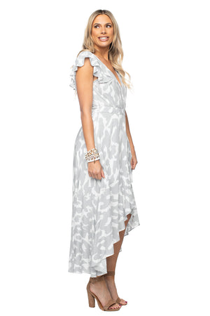 V Neck High Low Maxi Dress