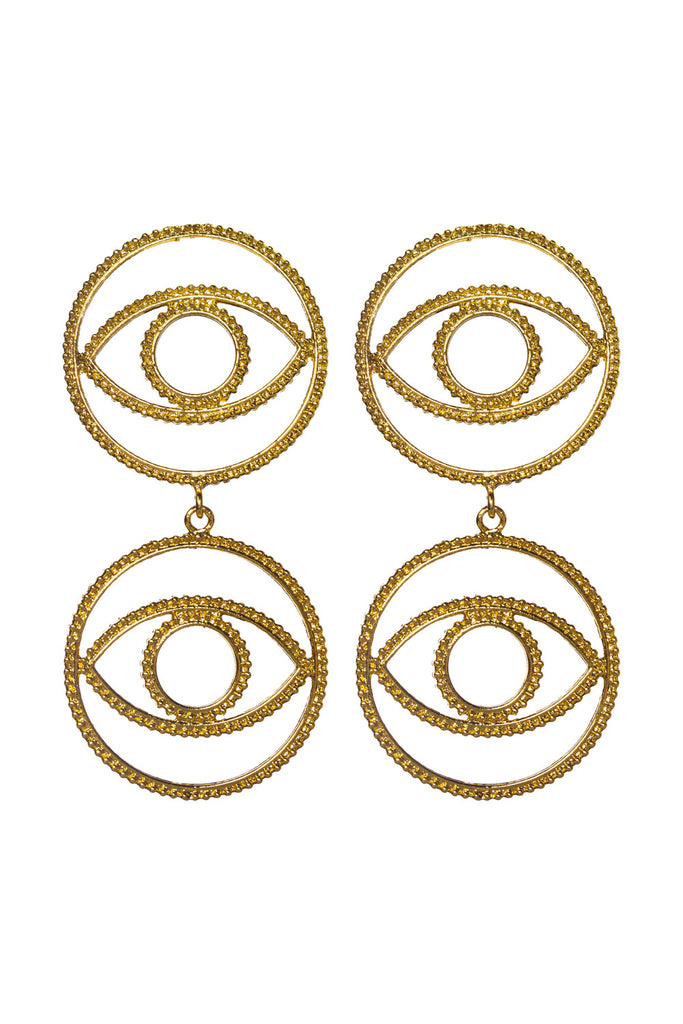 BuddyLove Eyes Drop Earring - Gold,Gold