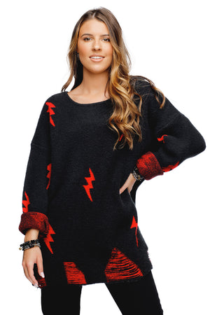 BuddyLove Fiona Distressed Oversized Sweater - Black Red