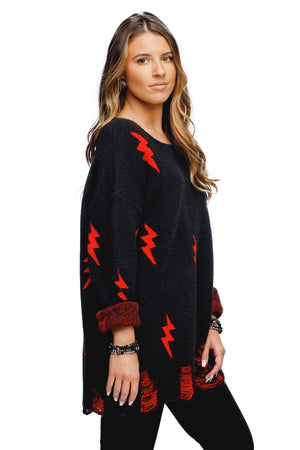BuddyLove Fiona Distressed Oversized Sweater - Black/Red
