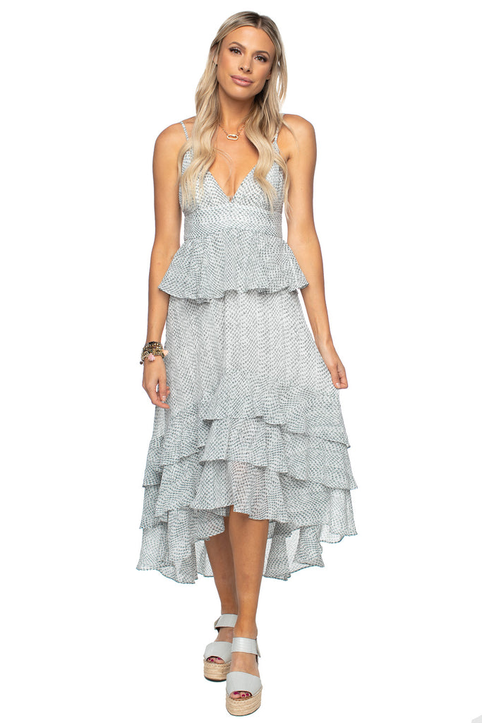 BuddyLove Georgia Ruffled Tiered Sleeveless High-Low Dress - Grey Scale