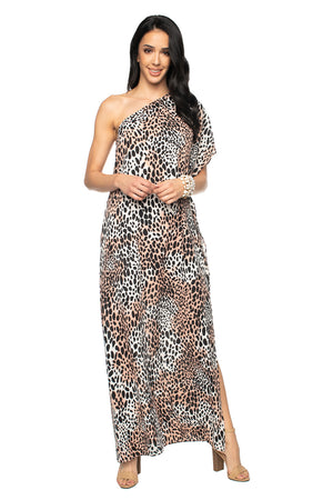 BuddyLove Grace One Shoulder Maxi Dress - Cheetah,XS / Black / Feline