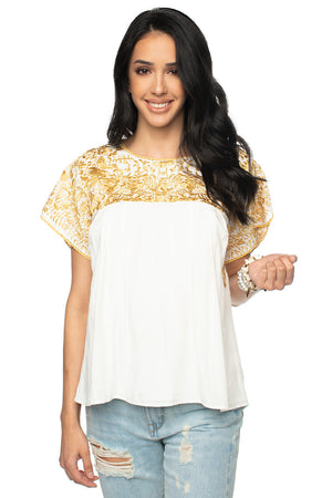BuddyLove Greek Embroidered Top Gold